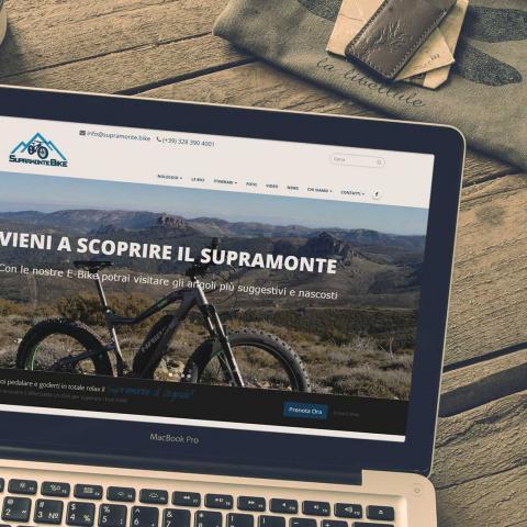 Anteprima sito Supramonte Bike su notebook