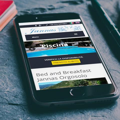 Sito web responsive bed and breakfast Jannas Orgosolo, anteprima su Smartphone