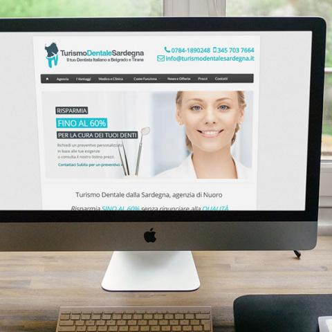 Anteprima sito Turismo Dentale Sardegna su PC desktop Imac